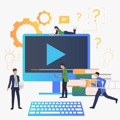 Group of people making video. Video production, producer, film. Business concept. Vector illustration for poster, presentation, new project